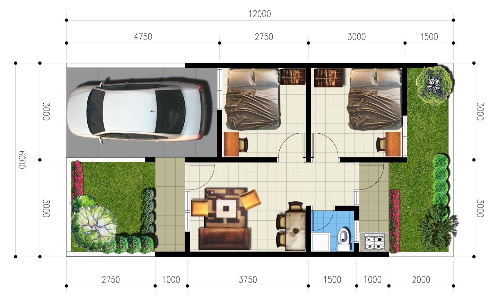 Penjelasan Denah Ukuran Rumah Type 21, 1 dan 2 Lantai
